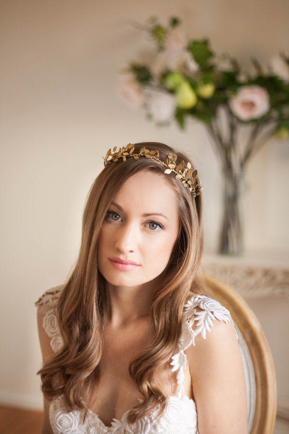Bridal Hair Accessories Boho : Delicate leaf tiara gold halo headpiece