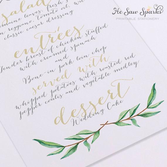 Wedding - Printable Wedding Menu Card - Calligraphy