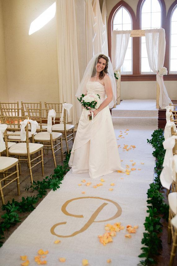 40ft X 4ft Burlap Wedding Aisle Runner With Custom Monogram Initials ...