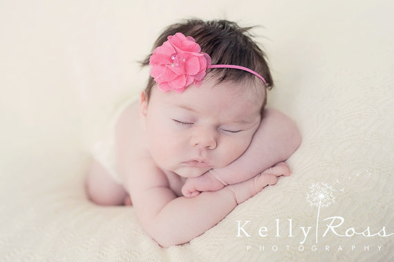 Mariage - Pink Flower Baby Headband with a Rhinestone and Pearls for Newborns, Infants, Toddlers, & Girls. Newborn Headband, Infant Headband