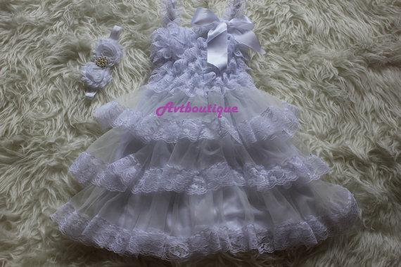 Mariage - Set of 2pcs - Baby girl dress - white dress  for girl - flower girl dress - lace dress - baby lothe -  girl clothe - girl wedding dress