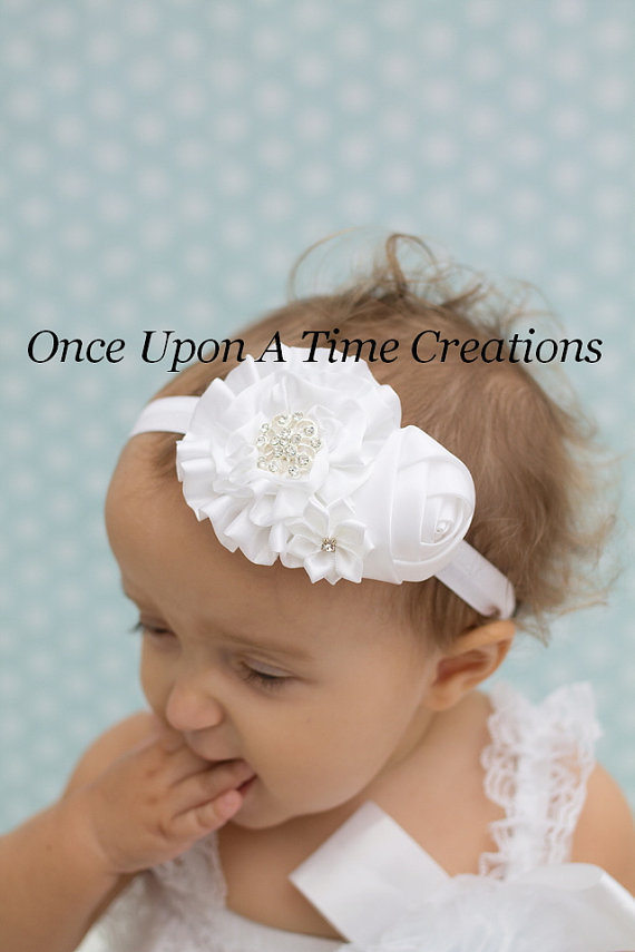 Pure White Satin Headband - Baby Girl Holiday Dressy Hair Bow - Little  Girl s Flower Christening HairBow - Baby Girls Baptism 3cd5e3ee1db