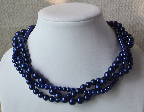 Mariage - navy blue necklace,3-rows pearl necklaces,wedding necklace,bridesmaids necklace,glass pearl necklaces, pearl necklace,necklace,wedding