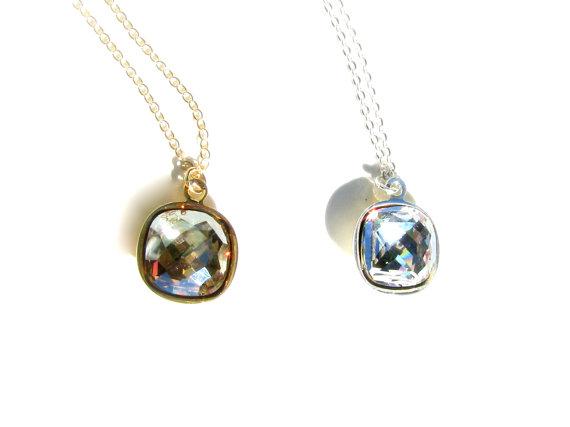 Свадьба - Diamond Bridal Necklace, Swarovski Crystal Necklace, Square, Clear, Rhinestone, CZ, Cubic Zirconia, Bridesmaids Necklace, Drop, Jewelry Set