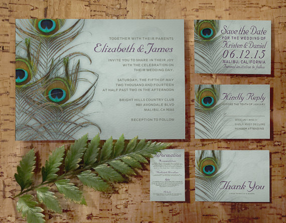 Wedding - Vintage Peacock Feather Wedding Invitation Set/Suite, Invites, Save the date, RSVP, Thank You Cards, Response Card, Printable/PDF/Printed