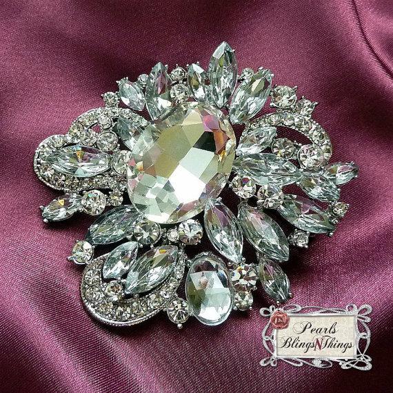 Sale Ex Large Crystal Pearl Rhinestone Pewter Rhodium Metal Brooch