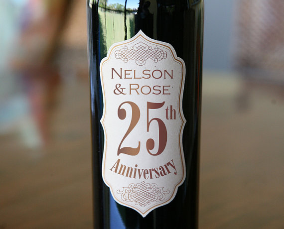 Wedding - Wedding Anniversary Wine Bottle Labels - Set of 12