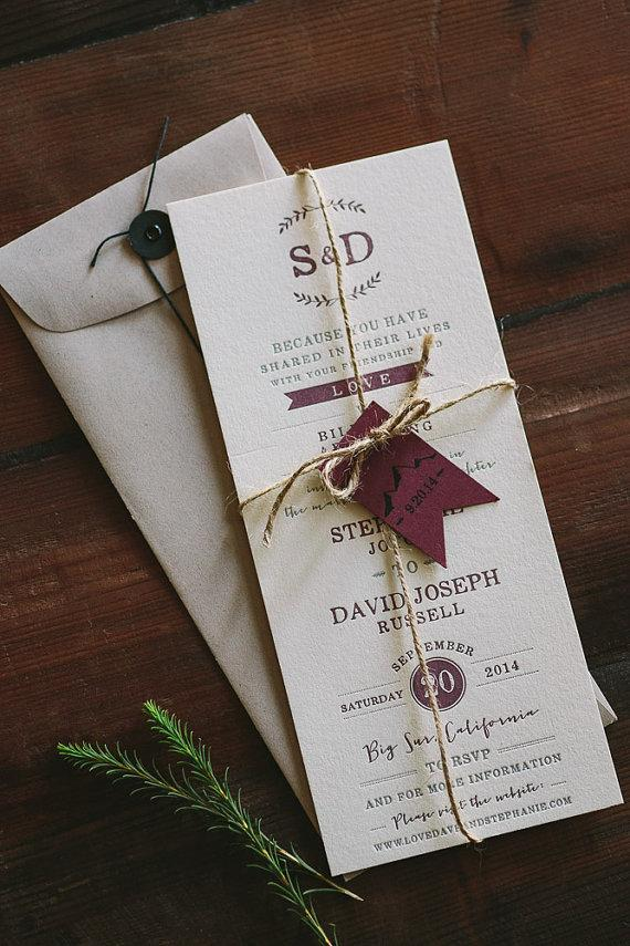 Wedding - Letterpress Wedding Invitation: Floral and Rustic Big Sur inspired