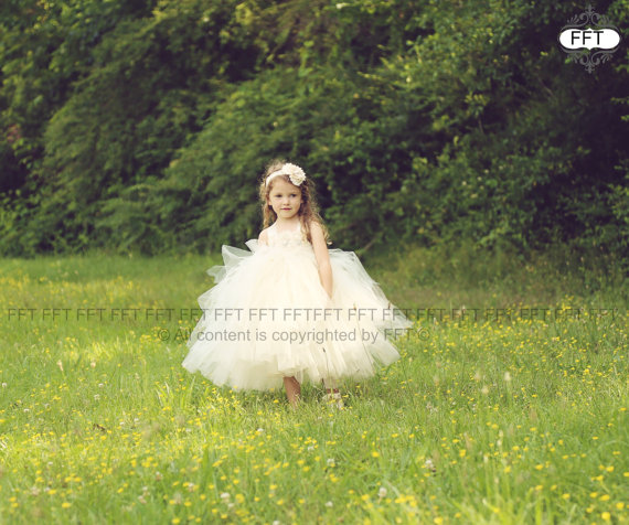 Mariage - Flower Girl Dress, Tutu Dress,  Ivory