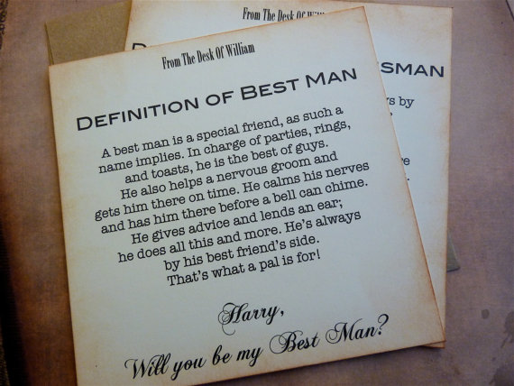 Mariage - Will You Be My Best Man Invitation Vintage Inspired Classic Styling Personalized