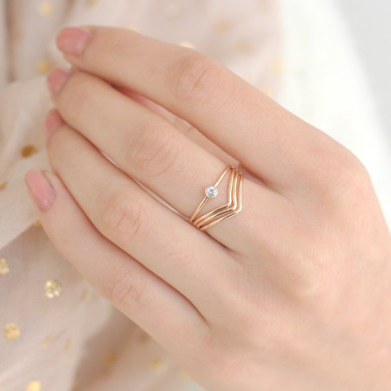 Gold Ring Set Of FOUR Chevron Diamond Ring Gold Filled Stacking