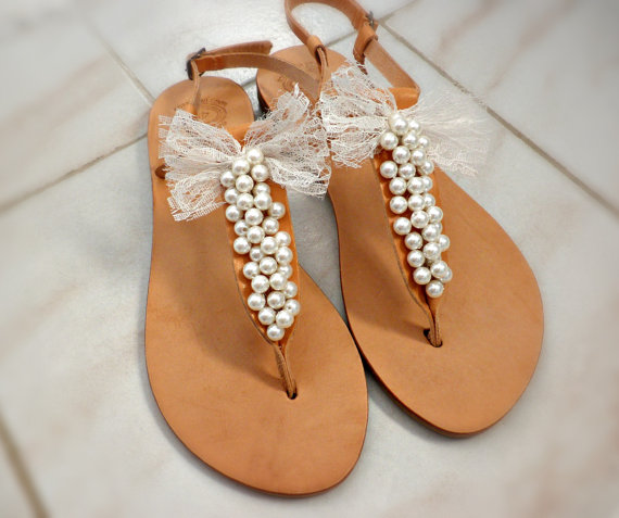 Wedding - Bridal shoes -Pearls decorated with lace bow - Wedding sandals-Bridesmaids sandals-Summer leather sandals- White pearls women shoes flats