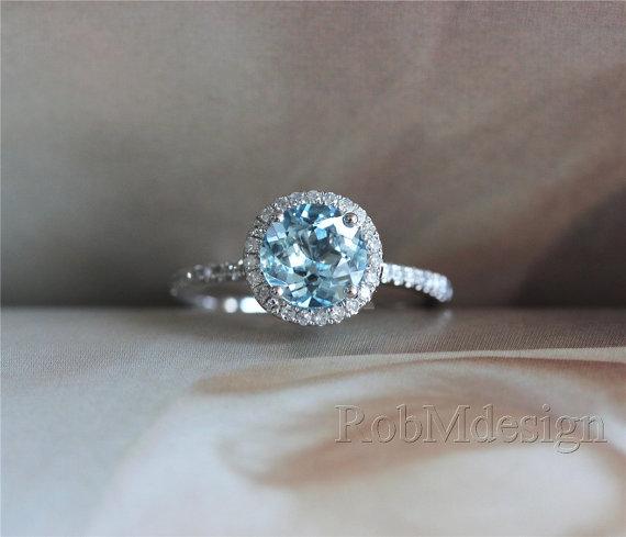 Свадьба - Halo Diamond and 7mm Round Aquamarine Engagement Ring 14k White Gold Wedding   Ring  Blue Aquamarine Ring Gemstone Ring