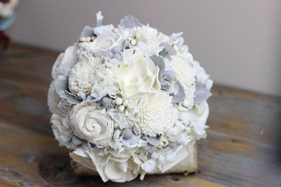 Mariage - Vintage Wedding Bouquet, Ivory Sola Flower Bridal Bouquet, Bridal Bouquet, Woodland Bouquet, Rustic Bouquet, Winter Bouquet Keepsake Bouquet