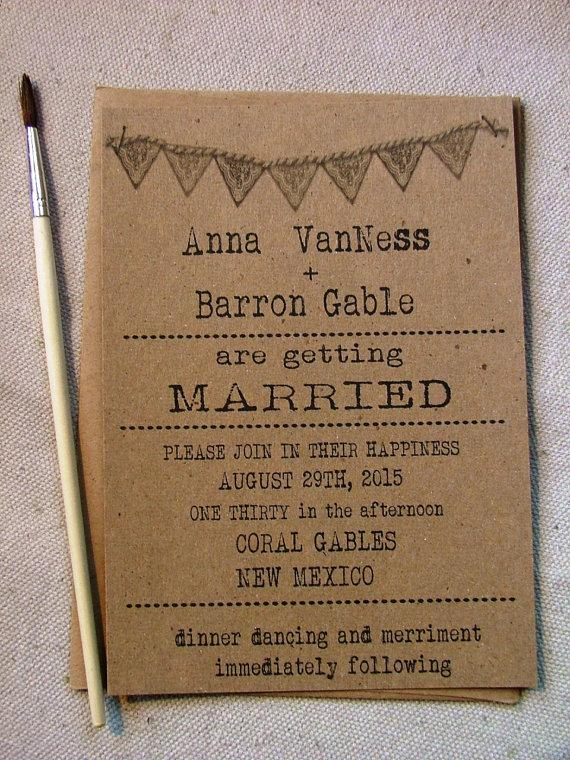 Wedding Invitations Simple Typewriter Font With Doily Banner