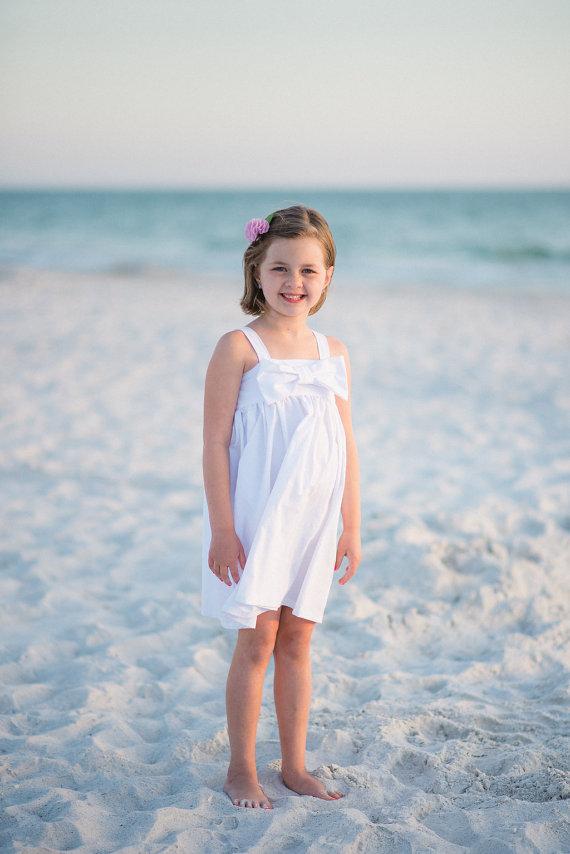 8614d5a8e5d White Beach Dress - White Flower Girl Dress - Halter Dress for Girls - Bow  Dress