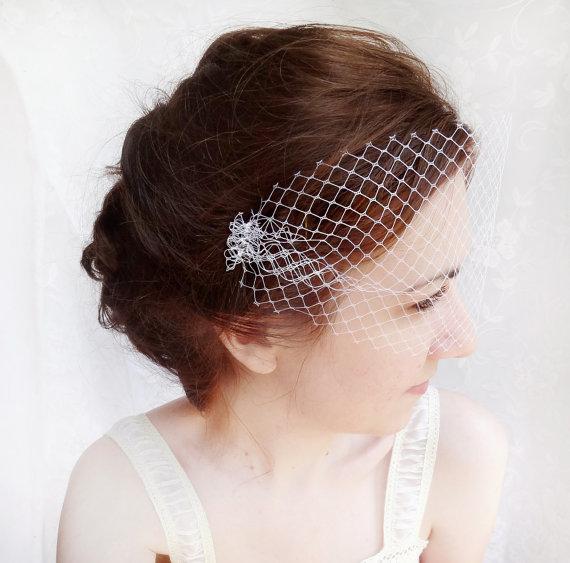 Свадьба - small wedding birdcage bandeau veil, white bird cage veil - FRINGE - bridal hair accessory, net face veil