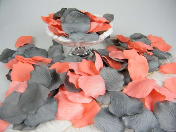 Flower Girl Basket Gray : Ceremony coral grey artificial rose petals