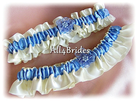 Mariage - Cornflower Blue Weddings Bridal Garters    - Something Blue Bridal Gaters - Prom Garters
