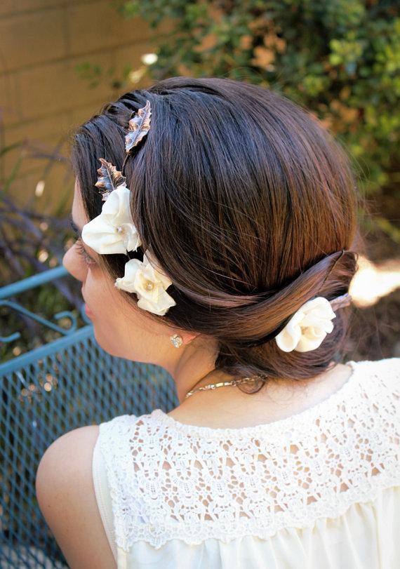 Hochzeit - Rustic Hair Vine- Hair Flower Crown, Bridal Hair Wreath- Leaf Hairpiece Bridal Halo, Wedding Halo- Hair Wedding Accessories, Bridal Headband