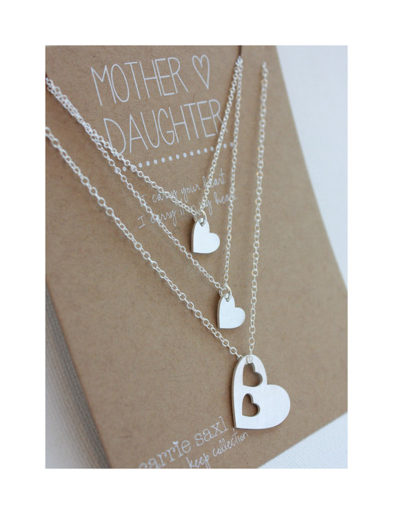 Mariage - Mother 2 Daughters Necklace Set - silver hearts - mother daughter jewelry - wedding - mother necklace - jewelry gift - personalized necklace
