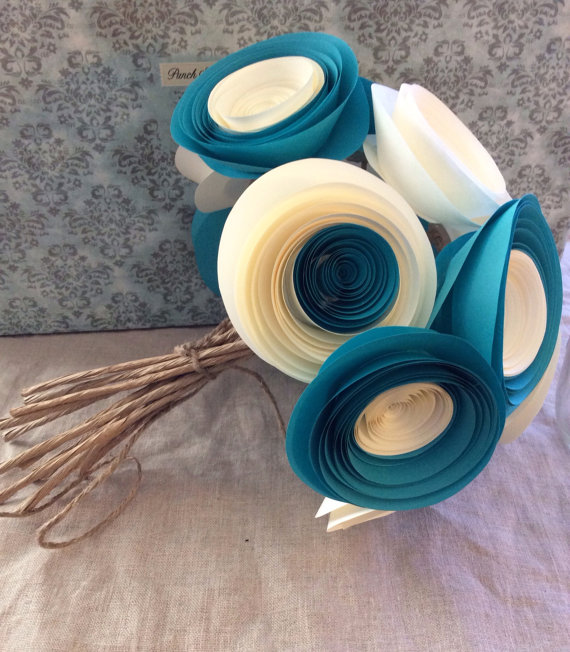 Свадьба - Bouquet large paper flowers anemone teal & cream wedding home decor baby shower you customize any colors set of 12