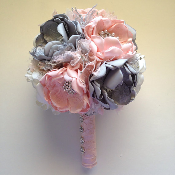 blush pink, cream and grey  large size bouquet  fabric flower, Beautiful flower