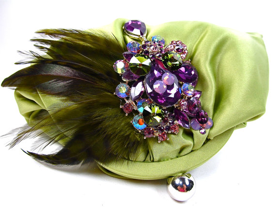 Hochzeit - Olive Purple Crystal Feather Bridal Clutch, Satin Crystal Wedding Purse, Olive Purple Statement Bridal Clutch
