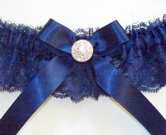Свадьба - Navy Bridal Garter of Chantilly Lace Accented with a Navy Bow and Crystal Center, Incl. Satin Band Toss - The LAUREN Garter