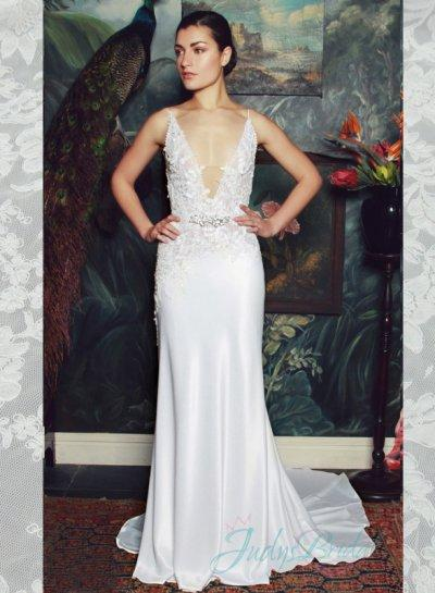 Wedding - sexy plunging v neck illusion lace v back sheath wedding dress