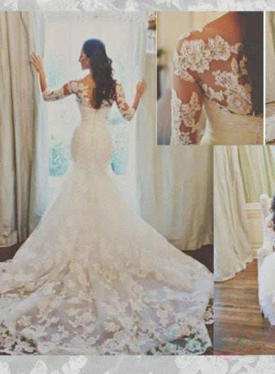 Hochzeit - JOL296 Stunning illusion lace long sleeved mermaid wedding dress