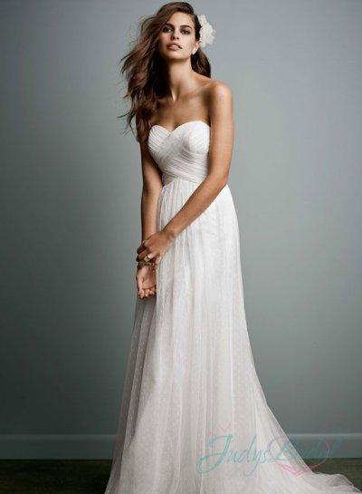 Hochzeit - JOL295 sweetheart neck criss cross dot tulle wedding dress