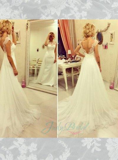 زفاف - JOL293 Illusion lace bateau neck v back sheath wedding dress