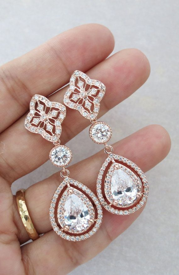 Rose Gold Teardrop Deluxe Cubic Zirconia Earring Vintage Halo Style Earrings Bridal Gifts Drop Dangle Pink Weddings