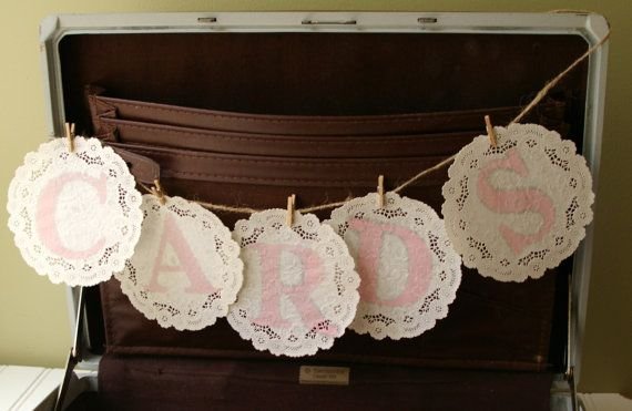 For You Romina Vintage Paper Doily Cards Banner Handmade Stamped Wedding In Custom Colors Rustic Chic Decor