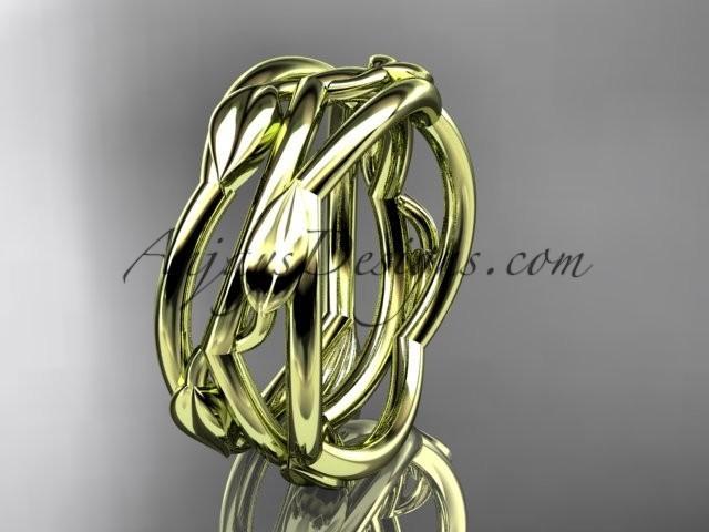 Hochzeit - 14kt yellow gold leaf and vine wedding ring,wedding band ADLR350G