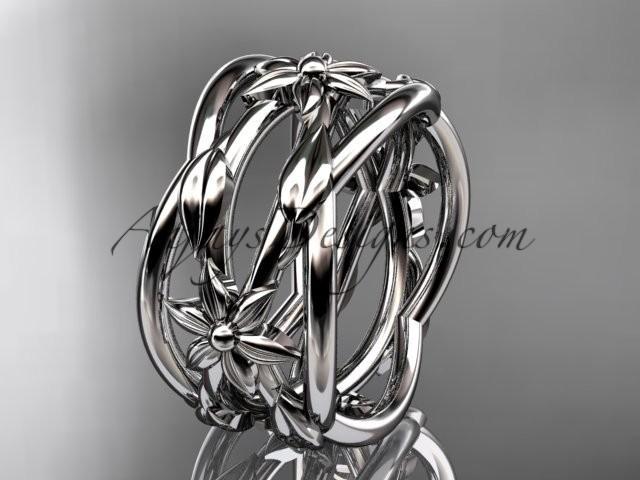 Wedding - platinum leaf and vine, flower wedding ring,wedding band ADLR352G
