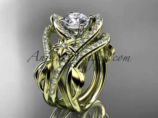 Wedding - 14kt yellow gold diamond leaf and vine engagement ring with double matching band ADLR369S
