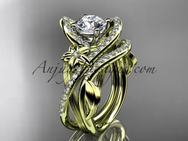 Wedding - 14k yellow gold leaf and flower diamond unique engagement set, wedding ring ADLR369S