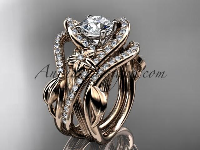 """زفاف - 14kt rose gold diamond leaf and vine engagement ring with """"Forever Brilliant"""" Moissanite center stone and double matching band ADLR369S"""