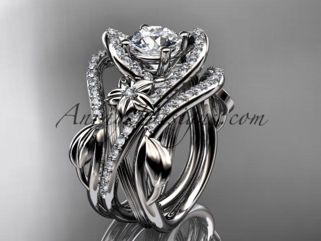 """Hochzeit - Platinum diamond leaf and vine engagement ring with """"Forever Brilliant"""" Moissanite center stone and double matching band ADLR369S"""