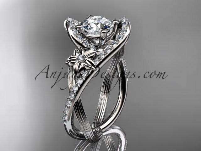 """Wedding - platinum leaf and flower diamond unique engagement ring, wedding ring with a """"Forever Brilliant"""" Moissanite center stone ADLR369"""