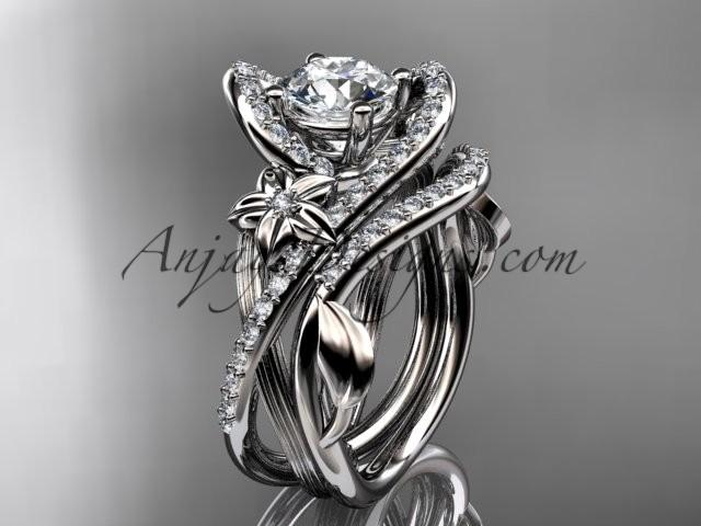 14k White Gold Leaf And Flower Diamond Unique Engagement Set