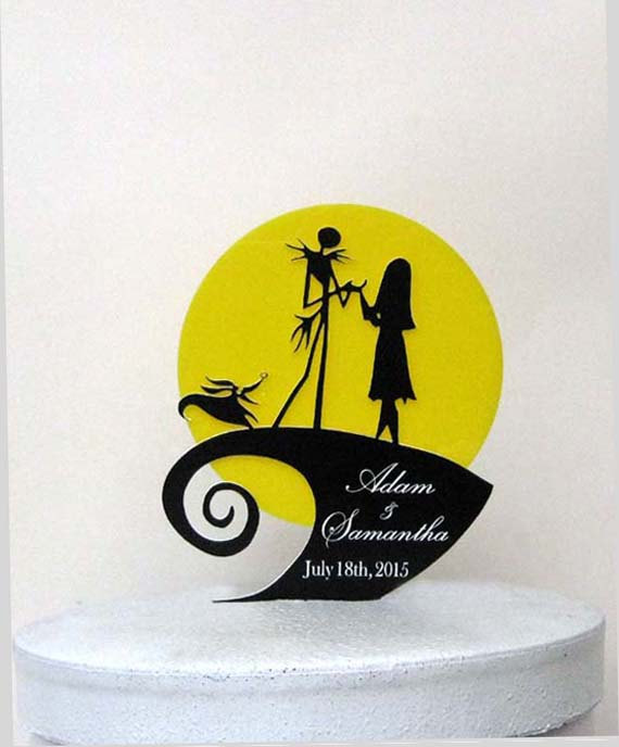 Mariage - Personalized Wedding Cake Topper -The Nightmare Before Christmas with engraved names and Wedding date