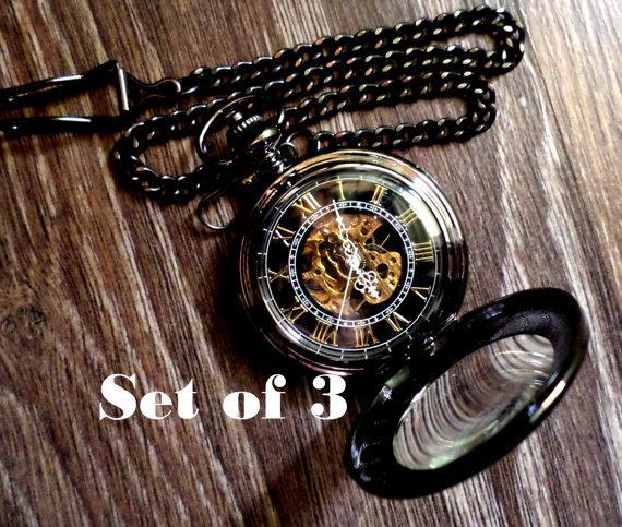 Mariage - Set of 3 Black Magnifier Mechanical Pocket Watches with Watch Chains Groomsmen Gift Wedding Party Gift Grooms Corner Groomsman Keepsake