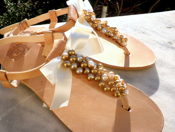 Свадьба - Wedding sandals -Pearls sandals - Gold pearls and satin bow sandals - Greek leather sandals -Bridesmaids shoes - Beach wear - Summer sandals