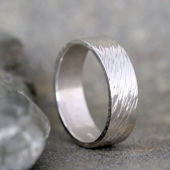 Hammered Mens Wedding Band Sterling Silver Commitment Rings Bands Unisex Design Rustic Made In Canada