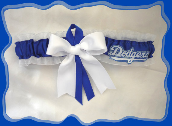 Hochzeit - White Organza Ribbon Wedding Garter Toss Made with Los Angeles Dodgers Fabric