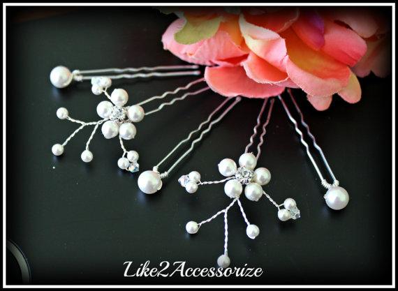 زفاف - White Ivory Pearl Clip, Bridal Hair Pins, Wedding Hair Accessories, Swarovski Pearl Wedding Hair Pin Set of 5 Hair Pin, Floral Vine Hair Pin