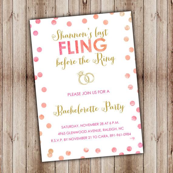 Wedding - Bachelorette Invitation, Bachelorette Invite, Girls Night Out Invitation {BP03}